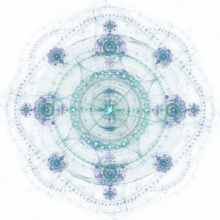 Beautiful blue fractal shapes on white background