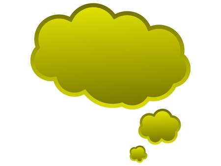 Speech balloon for ideas and thoughts in yellow color photo
