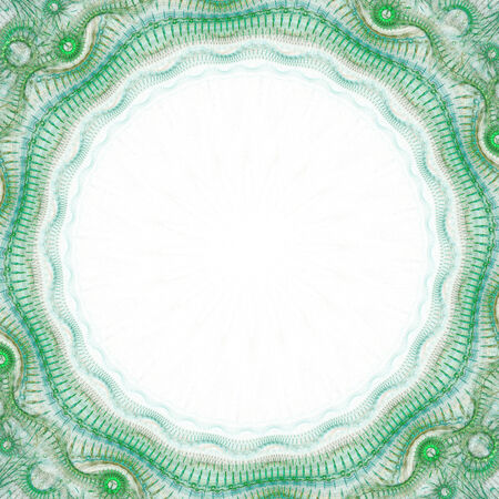 Abstract greenish fractal frame on white background Stock Photo
