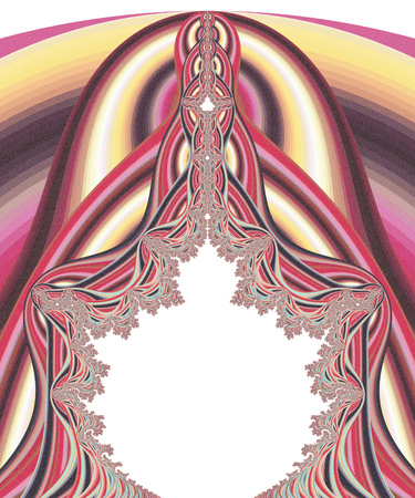 Abstract fractal shapes on white background with mandelbrot set Stock Photo
