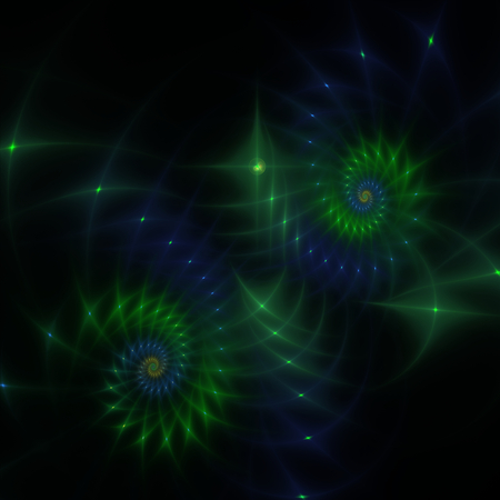 Green and blue abstract fractal shapes on black  photo