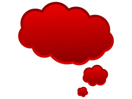 monologue: Speech balloon for ideas and thoughts in red color Stock Photo