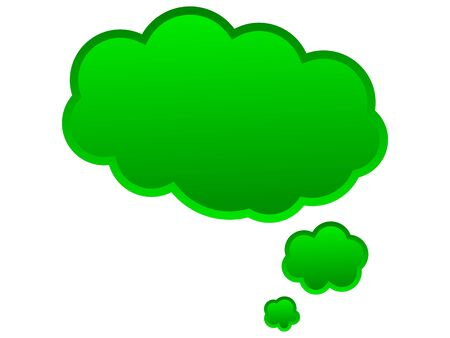 monologue: Speech balloon for ideas and thoughts in green color Stock Photo