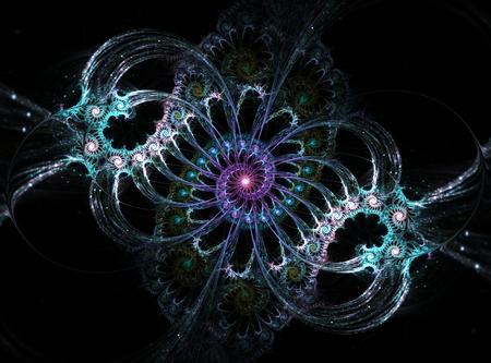 mauve: Bluish and mauve dreamy spiral on black background