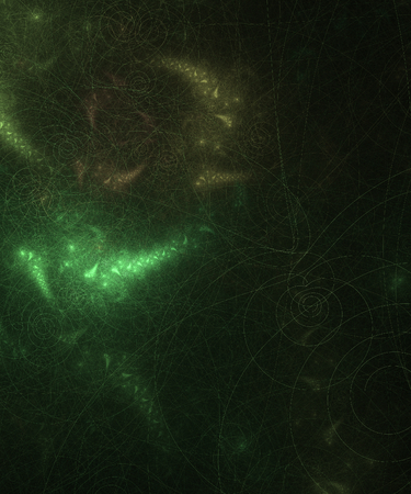 capillaries: Greenish abstract wallpaper with spirals on black background Stock Photo