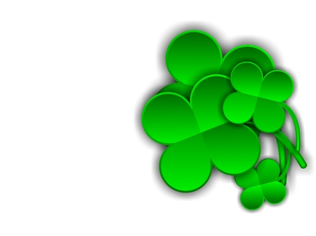 blissful: Cute green cluster of cloverleafs on white background Stock Photo