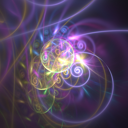 Abstract colorful fractal shape on black background photo