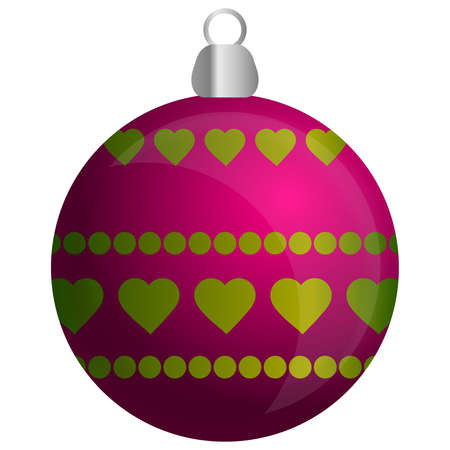 Pink and yellow ornament for Christmas tree Vector