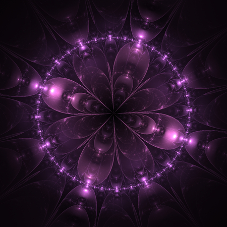 meditator: Mauve abstract fractal mandala on black background Stock Photo