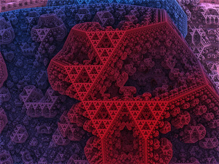 tetrahedron: Sierpinski colored tetrahedron in fantasy fractal city.