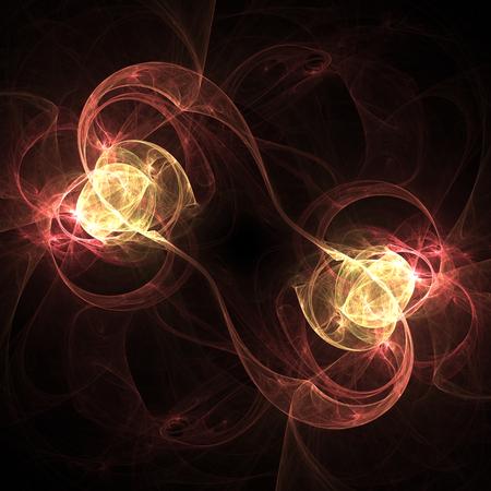 黒の背景に双子を抽象的な火災。かわいいフラクタル壁紙 写真素材