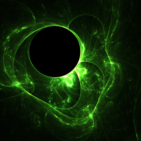Abstract green neon shapes on black background Stock Photo