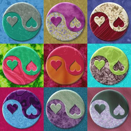 Set of yin yang symbols with hearts