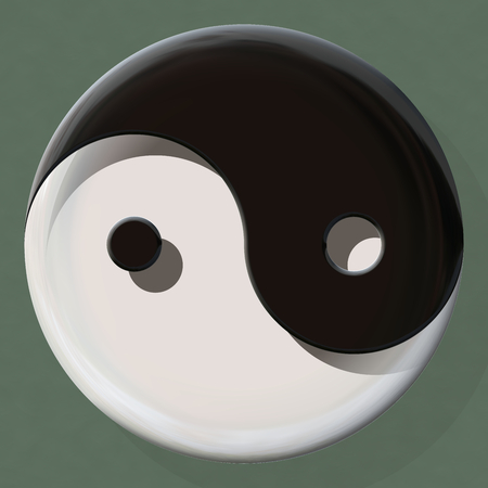 Black and white yin yang symbol made by mixed materials Stock Photo