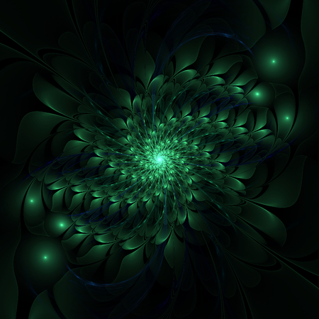 Abstract green floral spiral on black background photo