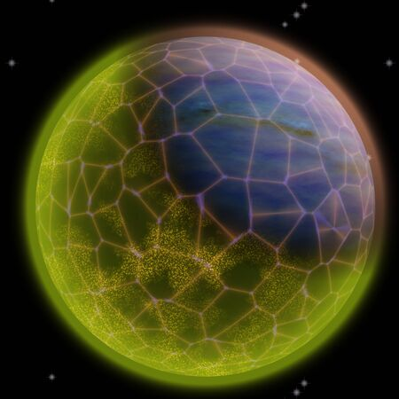 firmament: Fantasy cosmic planet with space net on it