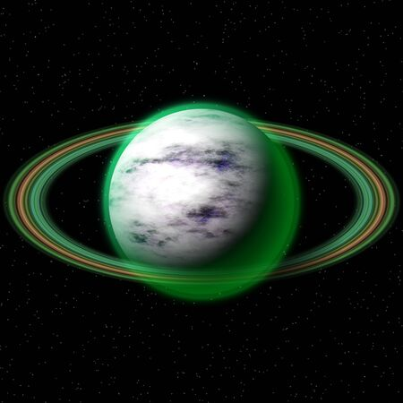 firmament: Fantasy cosmic planet in deep space with rings