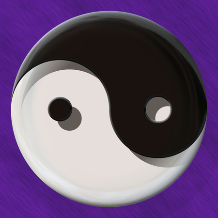 jing: Black and white yin yang symbol made by mixed materials Stock Photo