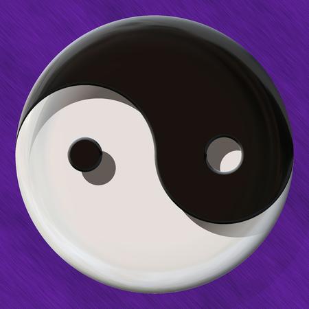 healing chi spiritual: Black and white yin yang symbol made by mixed materials Stock Photo