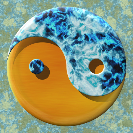 Yin yang symbol made by mixed materials