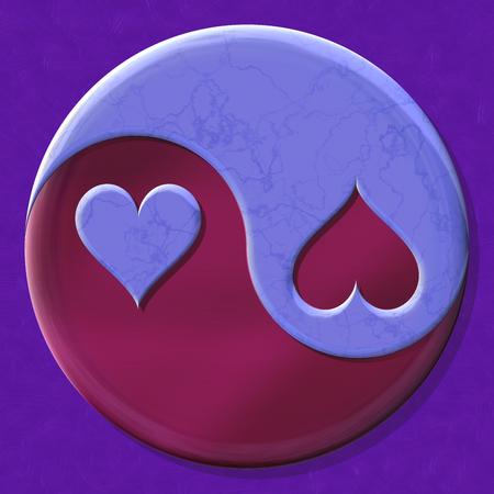 taiji: Yin yang symbol with hearts made by mixed materials Stock Photo