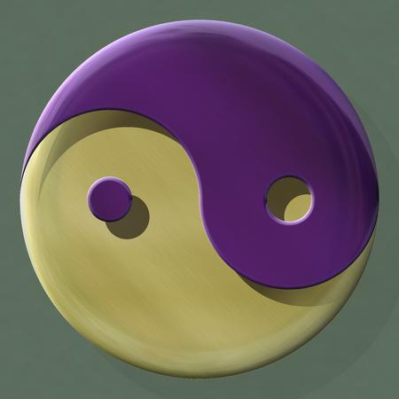 混合材料によって作られた陰陽のシンボル