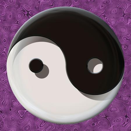 taiji: Black and white yin yang symbol made by mixed materials Stock Photo