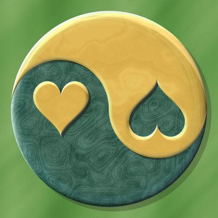 Yin yang symbol with hearts made by mixed materials Stock Photo