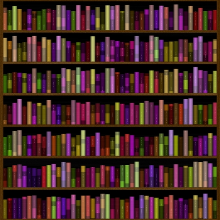 acquaintance: Big bookcase with books, computer generated picture Stock Photo