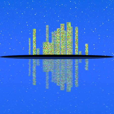 watter: Fantasy abstract city landscape with watter reflection