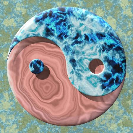 Yin yang symbol made by mixed materials