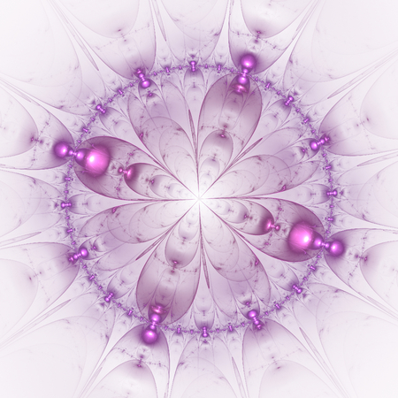 meditator: Mauve abstract fractal mandala on white