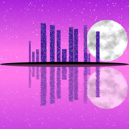 Fantasy abstract city landscape with watter reflection