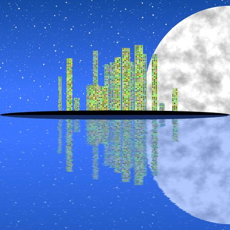 tranquil scene on urban scene: Fantasy abstract city landscape with watter reflection