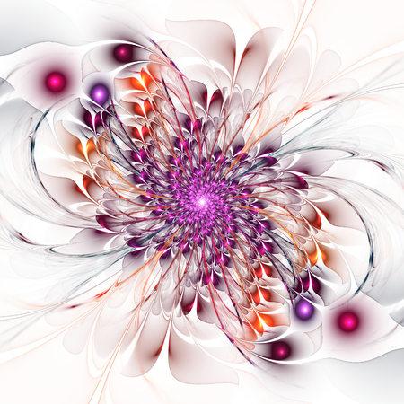 Abstract fractal floral spiral on white background photo