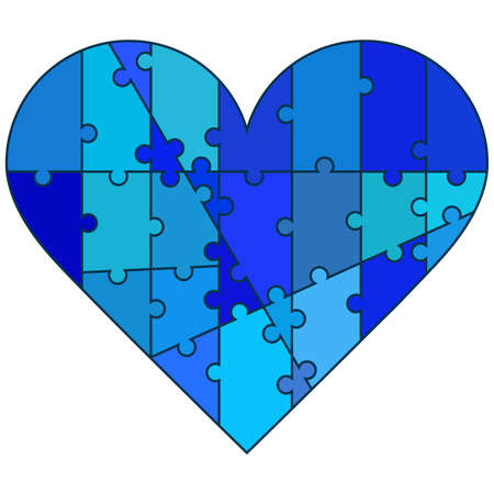 bluish: Valentine heart made by puzzle pieces in bluish colors