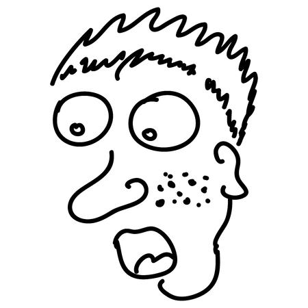 protruding eyes: Wondering man in handwritten sketch by black line