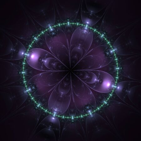 Neon abstract fractal mandala on black background photo