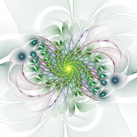 thrive: Abstract colorful flourish spiral on white background