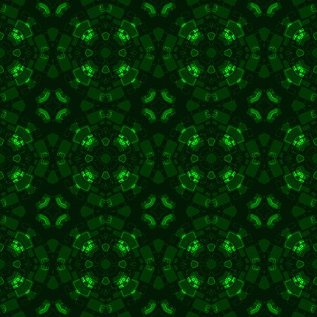 greenish: Abstract kaleidoscopic background as infinite seamless pattern Stock Photo