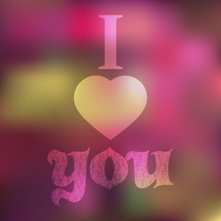 Greeting card with text I love you and sweet background Vector