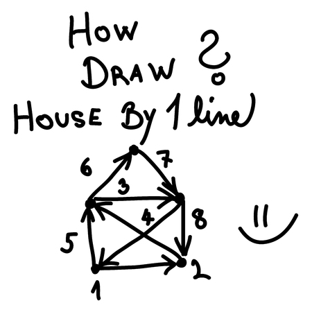 How draw simple house by one line Illustration