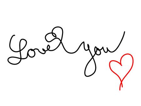cliche: Bosquejo manuscrita de la frase que usted y coraz�n rojo amor