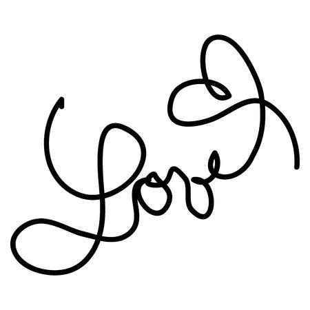 cliche: Boceto manuscrita de la palabra amor y el coraz�n