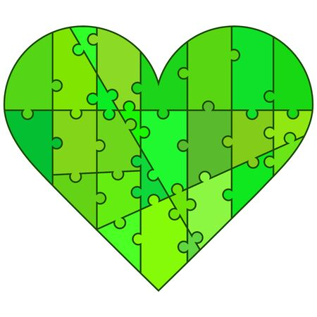 puzzle heart: Valentine heart made by puzzle pieces in greenish colors Illustration