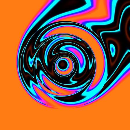 lunatic: Crazy illustration with smeared colors on orange base