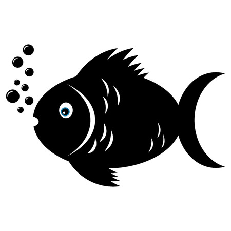 Fish in black and white color and blue eye Vector