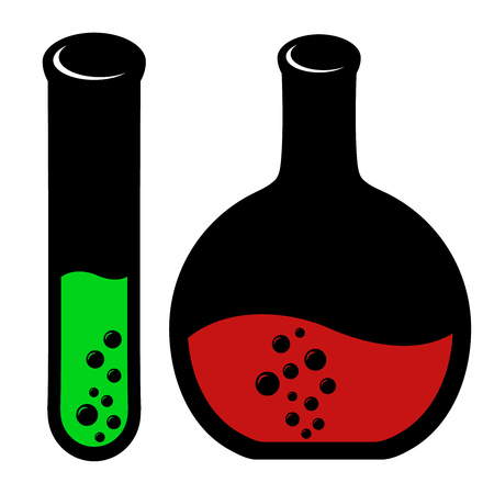 laboratory glass: Set of laboratory glass icons with bubbles Illustration