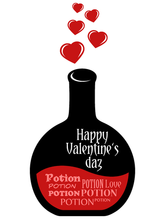 happy valentines: Greeting card Happy Valentines day on flask of potion