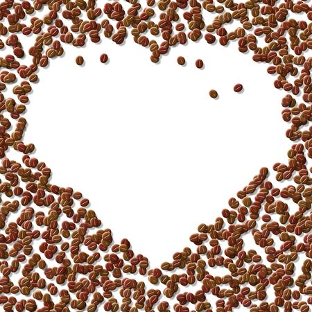 Heart mady by coffee beans on table photo